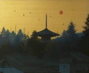 千住博「法隆寺朝景」(日本画12号)