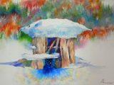 コロボックルの島から4 - 氷上の雲で(水彩 変形5号)