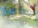 予感の森に旅してⅡ - ひかりの散歩道(ガラスにミクスドメディア8号)