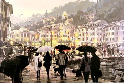 笹倉鉄平「雨のポルトフィーノ 」(シルクスクリーン)