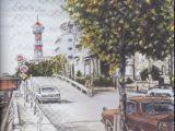 築港通りと博多タワー