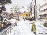雪のお堀端通り(赤坂門)