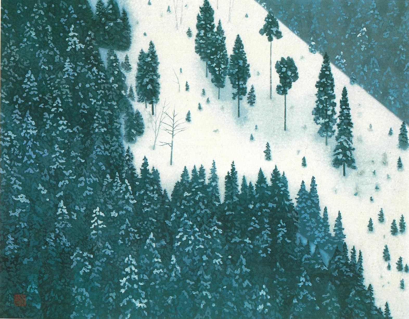 東山魁夷「春雪」(木版画)