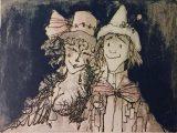 花飾り帽子のマスカレード 1978 21×29⇒売却いたしました