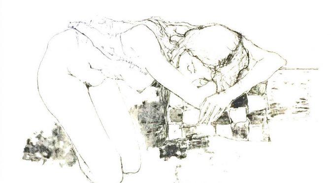 パッチワークと跪く裸婦