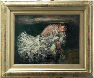 乃村豊和「うたた寝する白い鳥」(油彩6号)