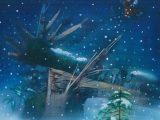 天使シリーズ - 天使の雪(板に墨・アクリル 変形10号)