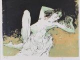 片膝を立てる裸婦(リトグラフ)→売却済み