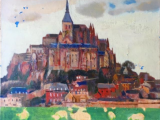 モンサンミシェル風景(フランス)(油彩F8号)